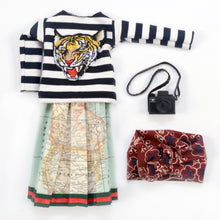 Severina Kids Tribute to Gucci Dolls Fashion Blogger New outfit clothes Tiger Sweatshirt and Turban and map skirt with camera