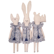 Severina Kids Zoo Londoners Cat, Bunny & Rhino in blue designs together in a row
