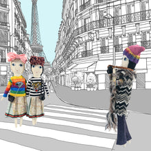 Severina Kids Tribute to Missoni Dolls Fashion Blogger New in Knitted Hat Fuchsia + Multi-Colour and Tribute to Gucci Dolls illustration drawing in Paris streets