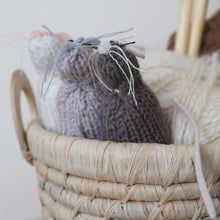Severina Kids Hand Knitted Mice Trio in basket