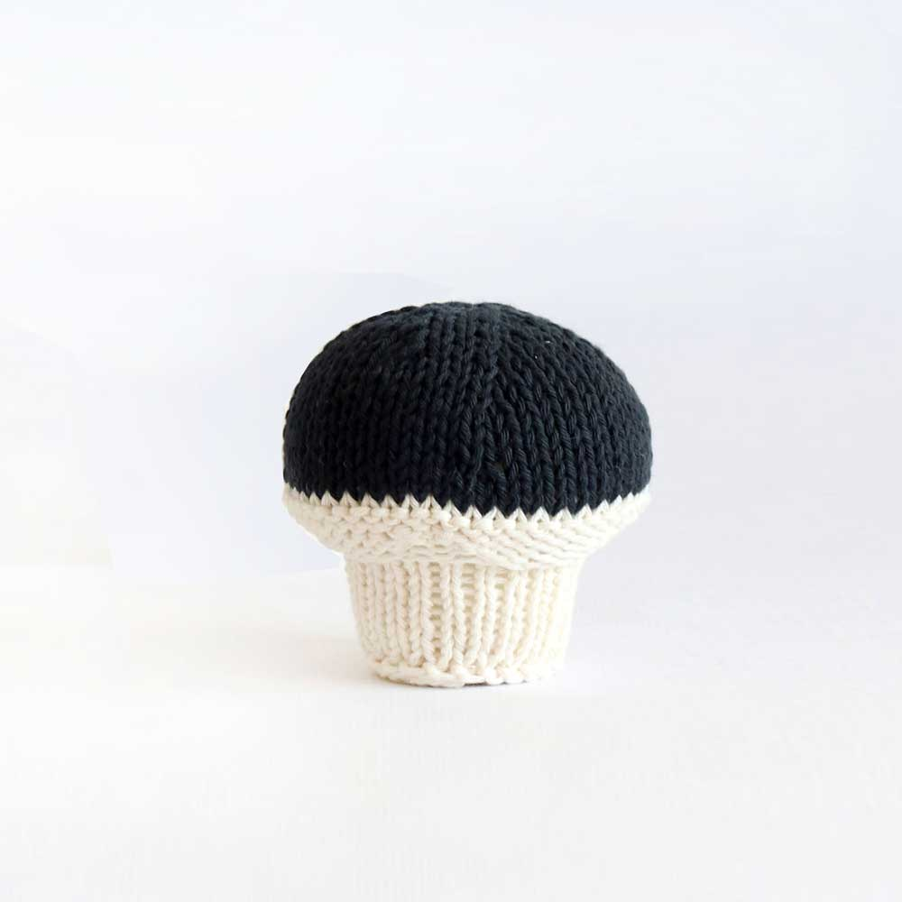 Black Hand Knitted Mushroom - Severina Kids