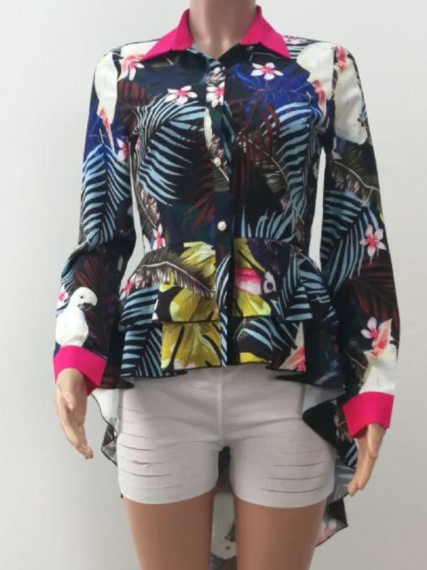Multicolor Printed Swallow-tailed Lapel Blouse