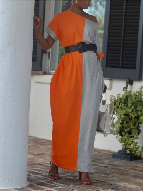 Contrast Color Slouchy Maxi Dress