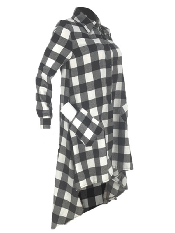 Plaid High-Low Shirt Dress