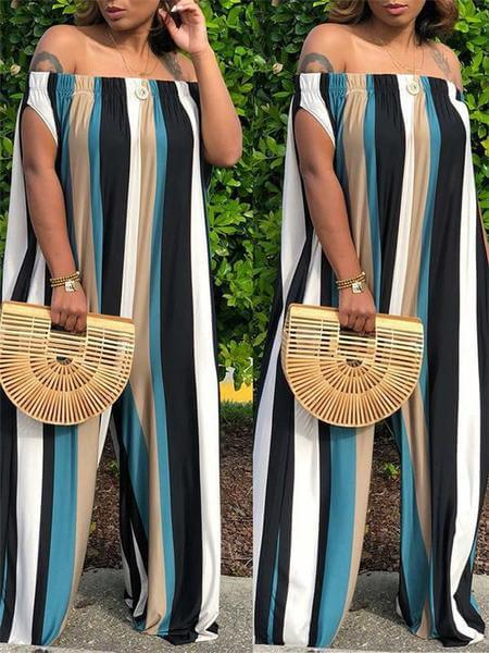 Off-the-shoulder Wide Leg Stripe Jumpsuit