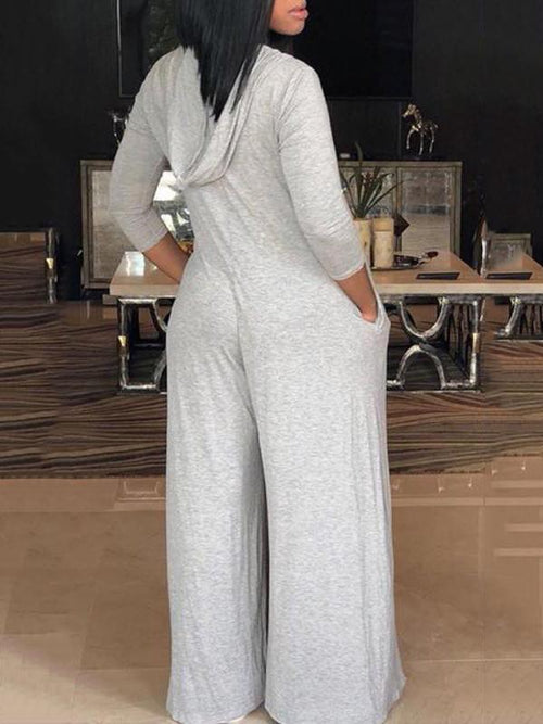 Hooded Wide-leg Jumpsuit with Pockets