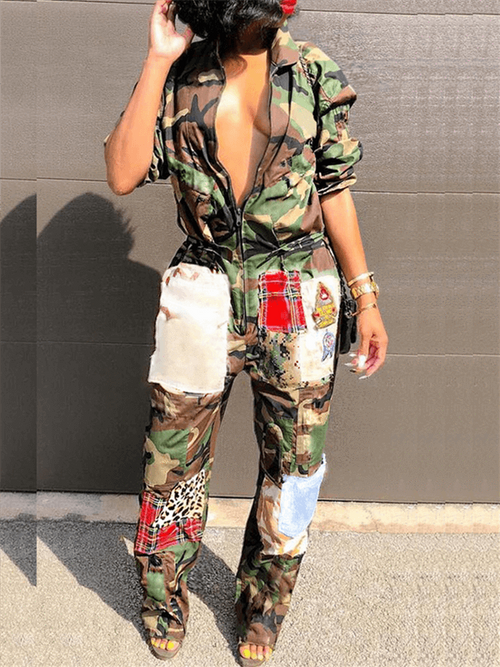 Call-the-police Camo Jumpsuit