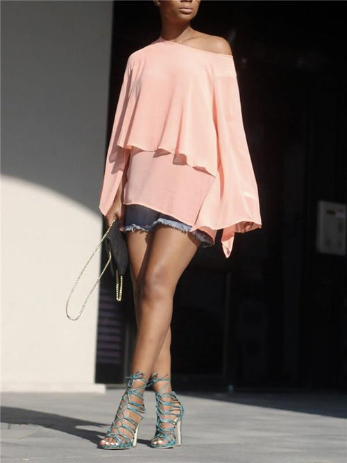One Shoulder Tiered Chiffon Top