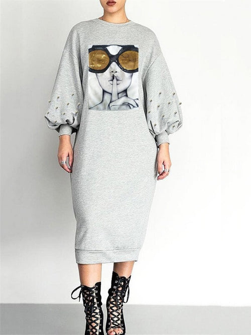 Quiet And Shine Sweatshirt Dress