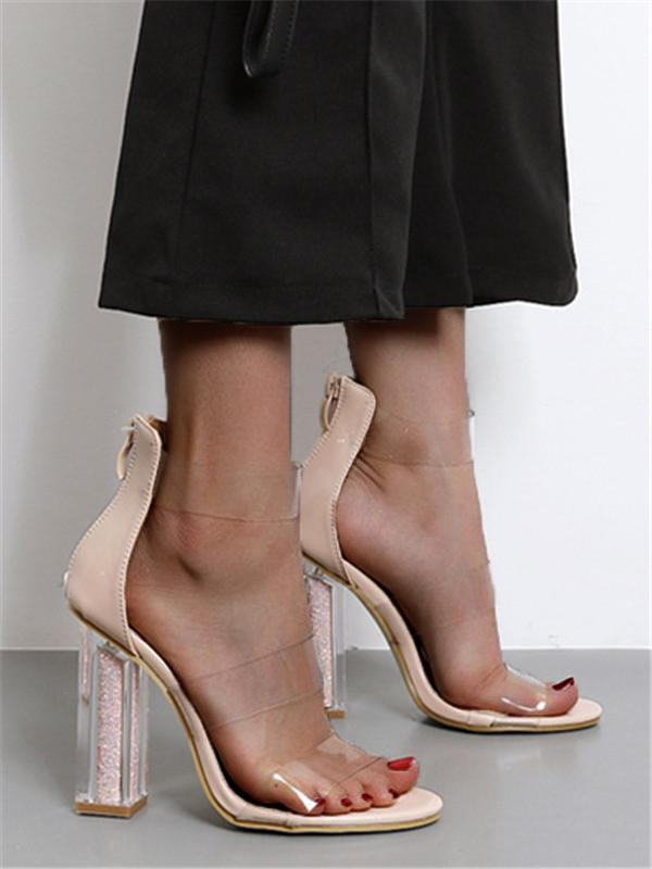 Illusion Chunky Ankle-Wrap PVC Sandal