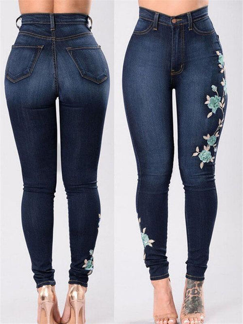 Embroidered High Waist Skinny Jeans
