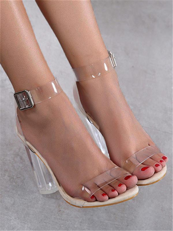 Chunky Ankle-Wrap Illusion Sandal