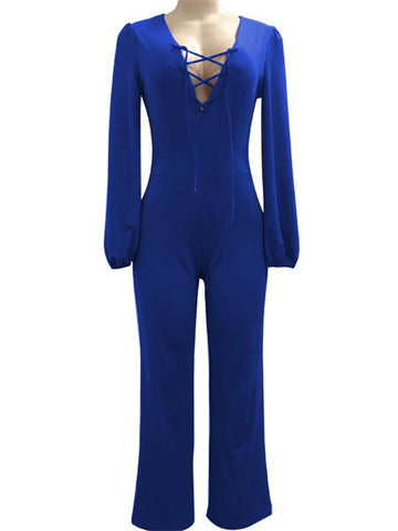 Halter Ruched Solid Color Jumpsuit