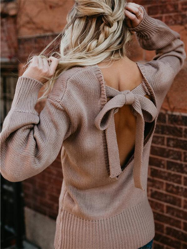Open Back Knotbow Sweater