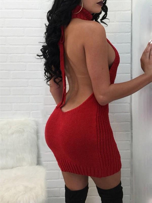 Halter Backless Knitted Mini Dress - Queenfy