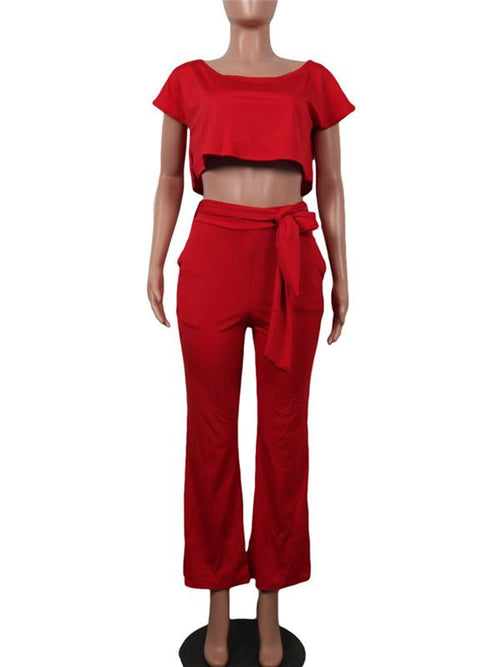 Plain Crop Top Wide Leg Pants Set