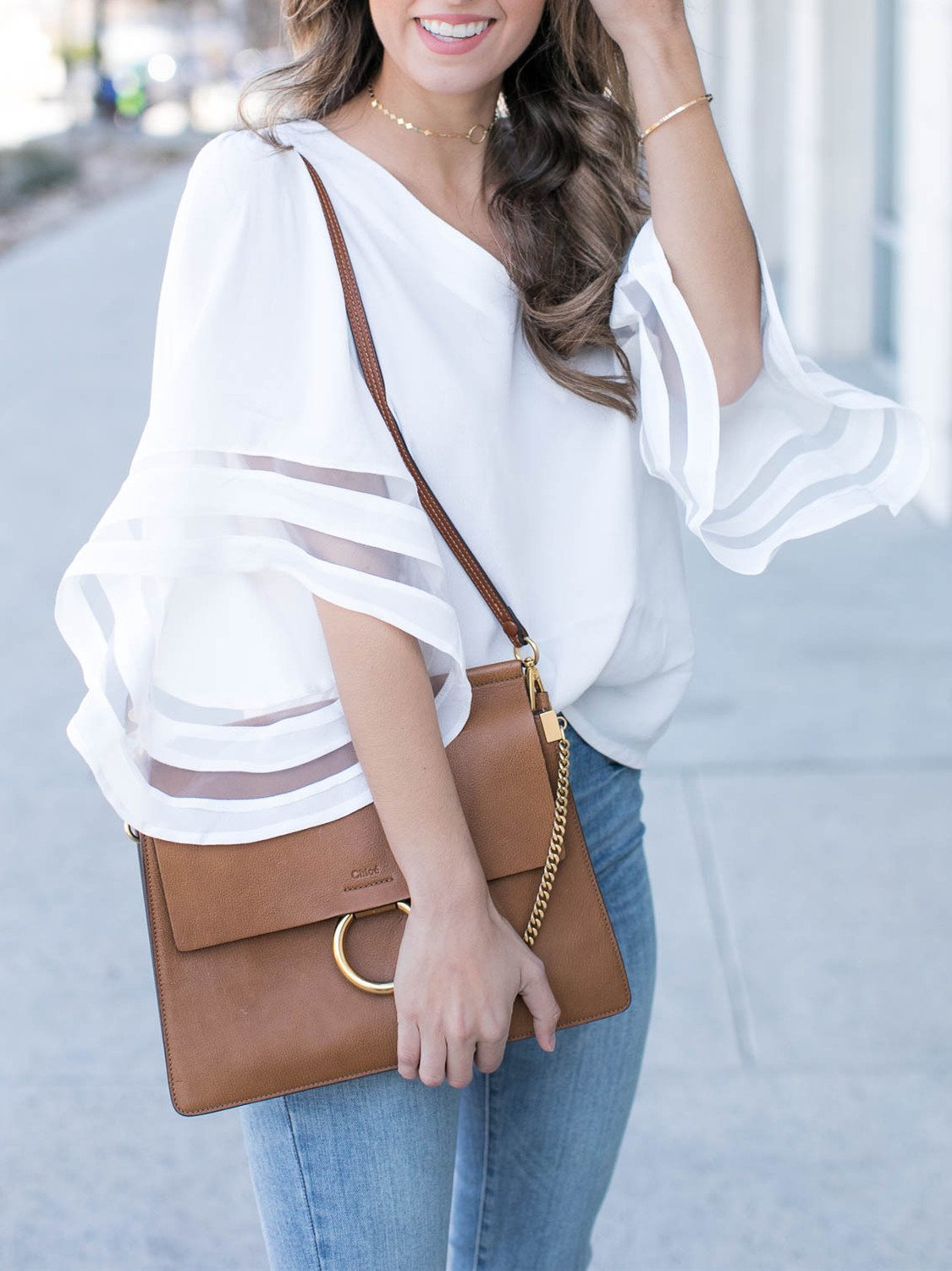 White Flared Sleeve V-neck Blouse - Queenfy