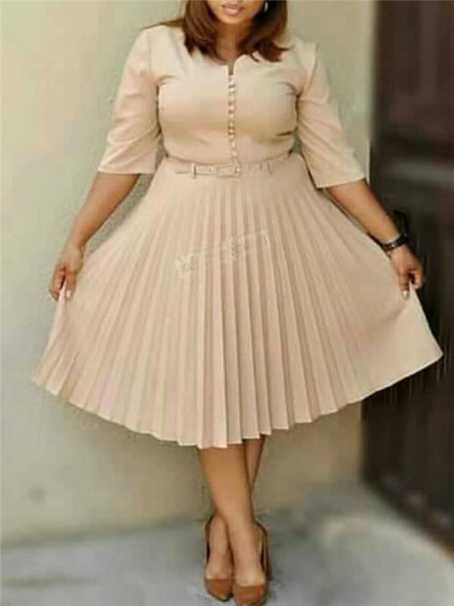Button-Down Pleated Midi Dress with Belt