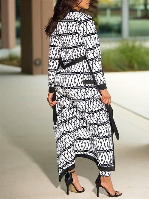 Net-Printed Piping Cardigan and Pants Set