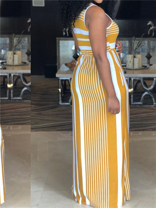 Yellow Striped Maxi Dress