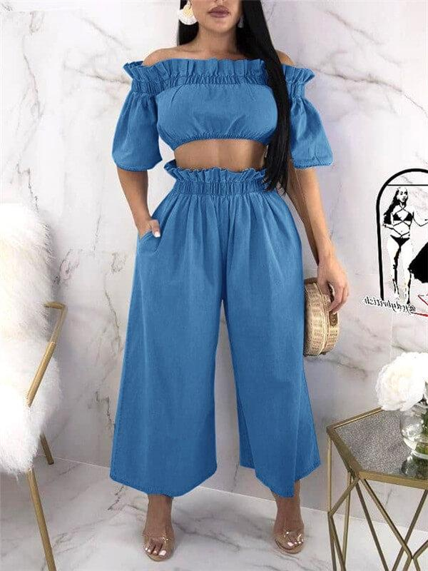 Denim Bardot Top Wide Leg Pants Co-ord