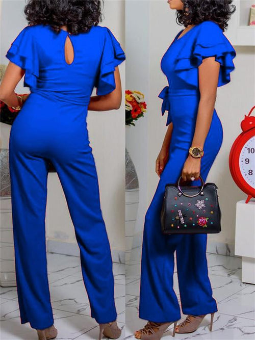 Flared-Sleeve Solid Color Jumpsuit with Belt