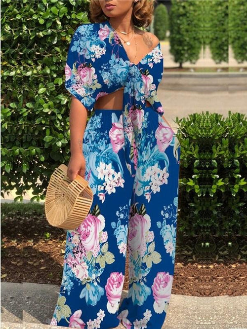 Floral Printed Knot-Front Co-ord