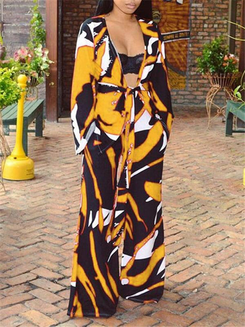 Abstract-Printed Cardigan & Relaxed Pants Co-ord