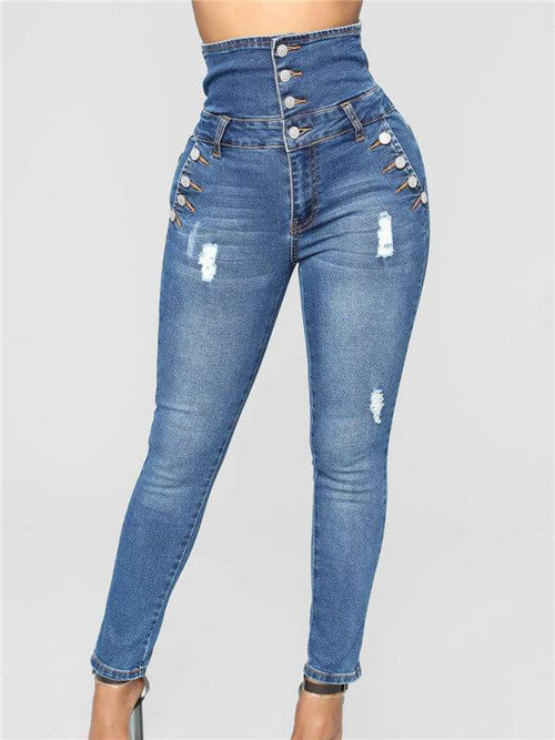 High Waist Buttoned Skinny Jeans
