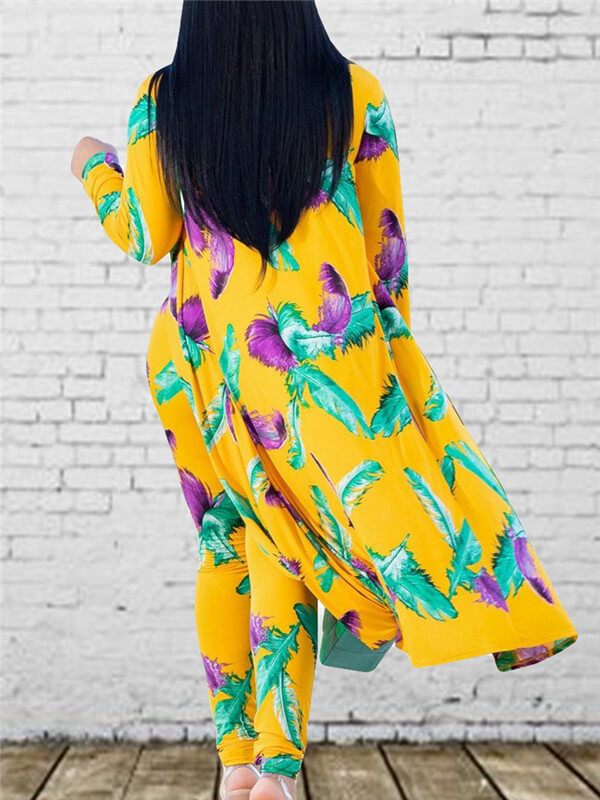 Feather Printed Cover & Long Pants Co-ord