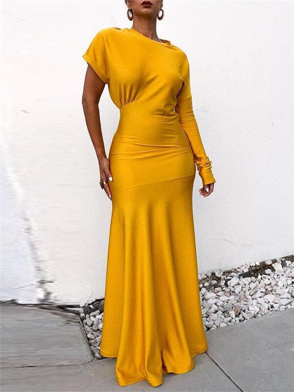 Crewneck Cap-Sleeve Bodycon Gown