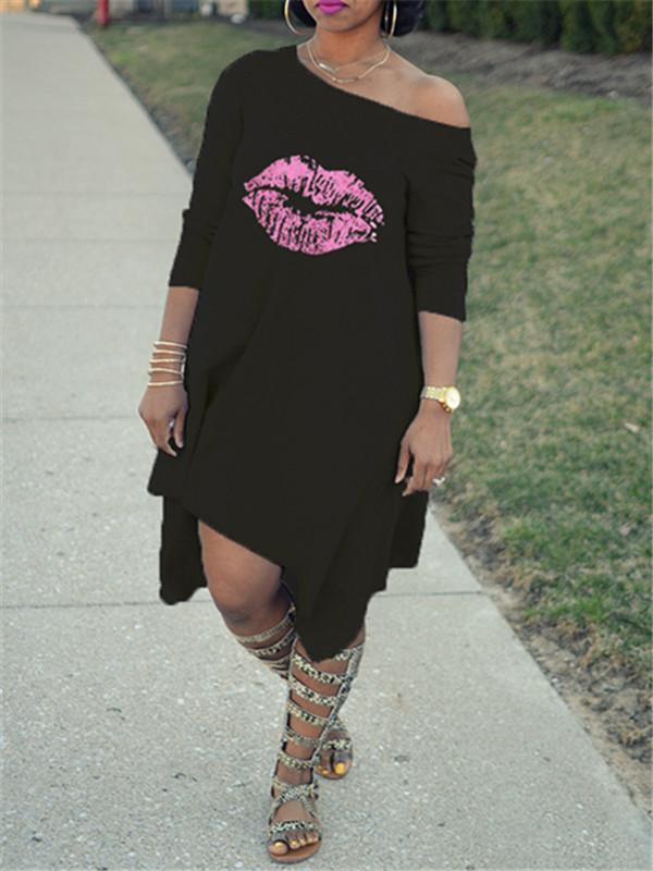 Lips Print Asymmetric Hem Dress