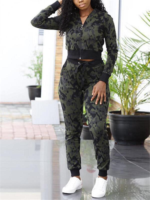 Camo Crop Jacket & Pants Set