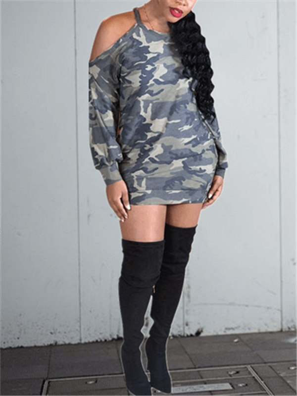 Cold Shoulder Camo Dress