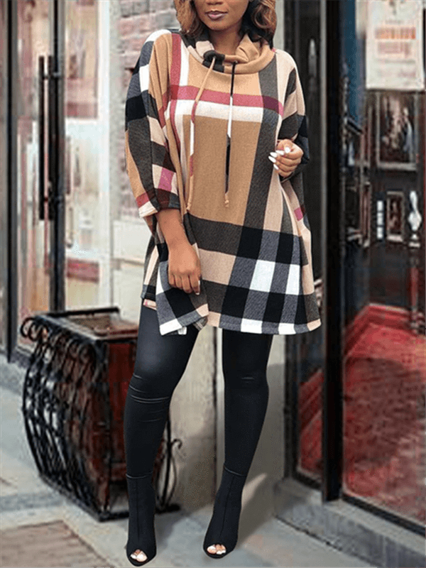 Plaid Batwing Sleeve Cowl Neck Dress