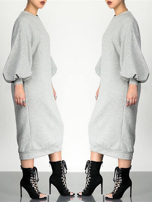 Solid Bell Sleeve Pullover Dress