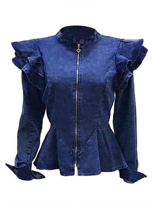 Frilled Stand Collar Denim Jacket