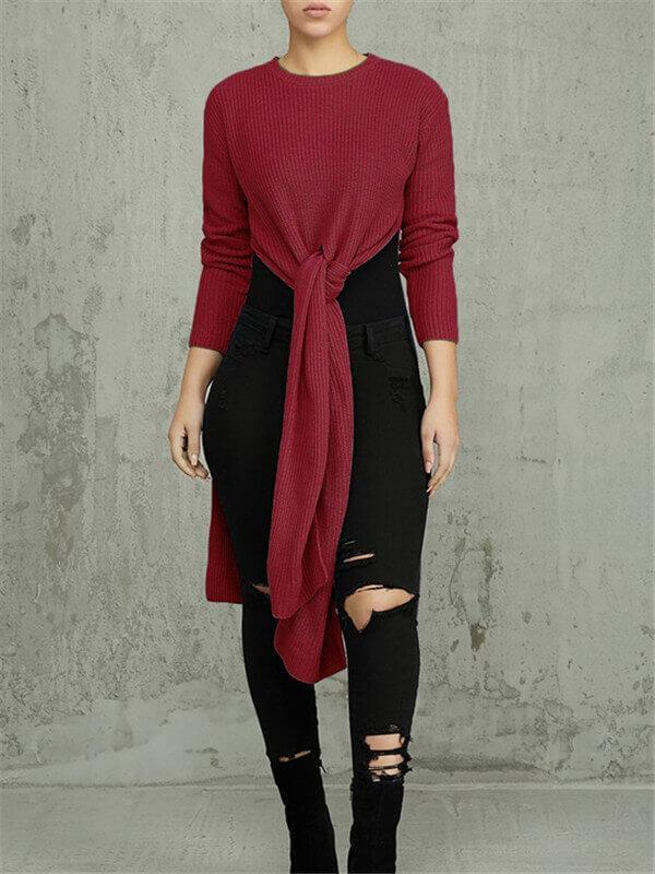 Knot Front Slit Tunic Top