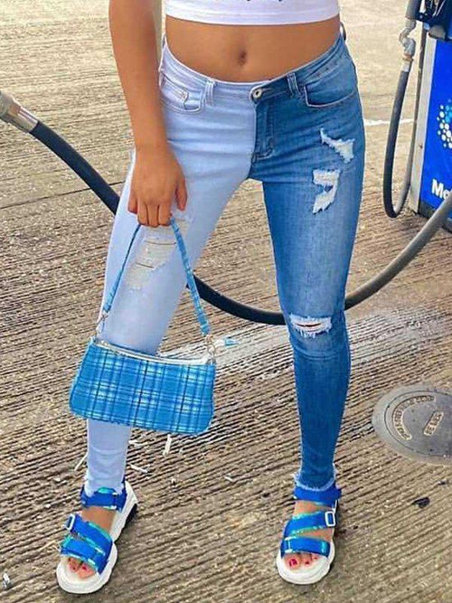 Two-Tone Ripped Jeans