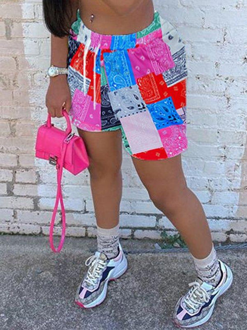 Patchwork Drawstring Shorts