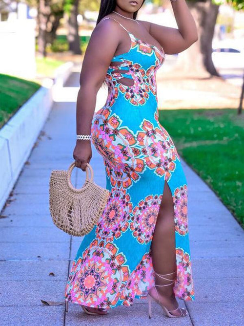 Printed Slit Cami Dress