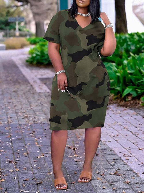 Printed V-Neck Tee Dress
