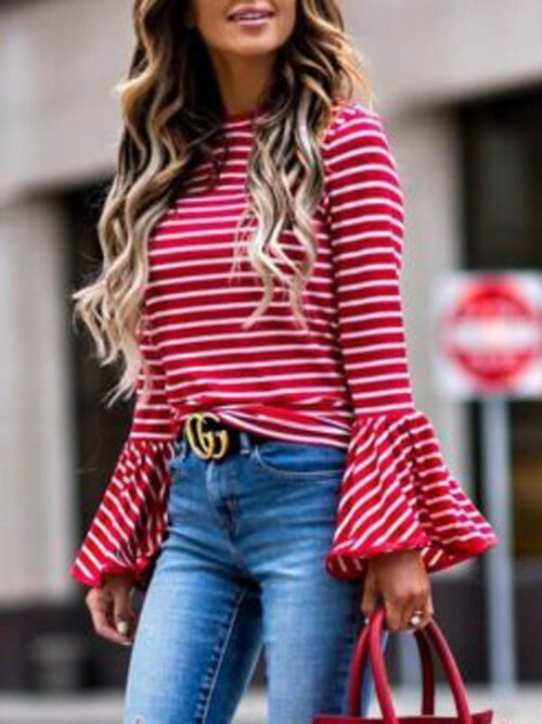 Round Neck Flared Sleeve Stripe Blouse-Clearance