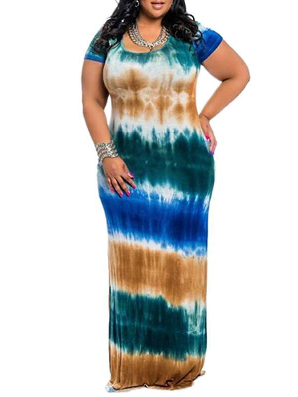 Plus Size Round Neck Striped Dress - Clearance