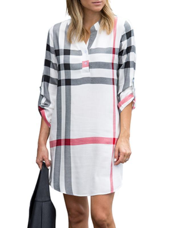 Plaid Cuff Sleeve Buttom Dress-Clearance