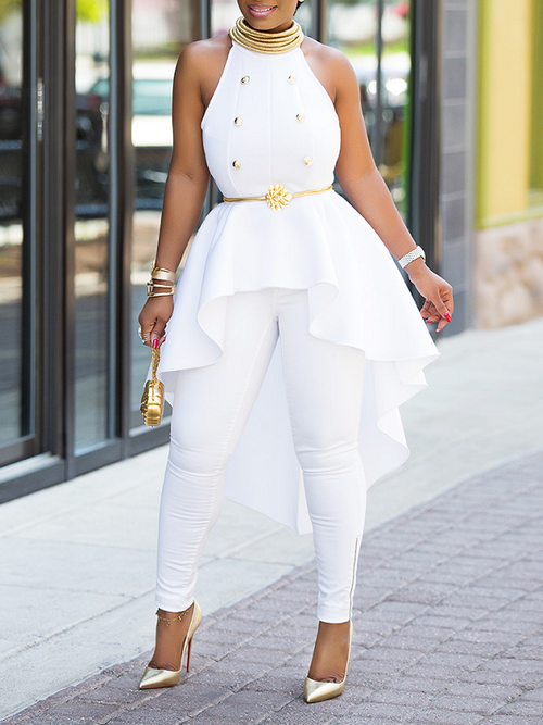 Buttoned Sleeveless High-Low Top