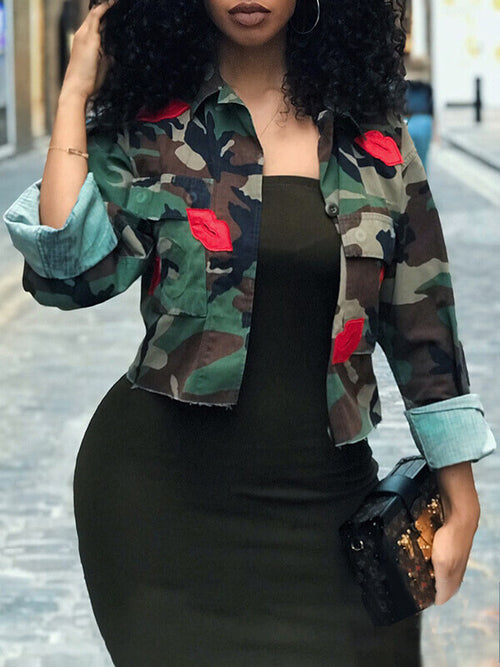 Red Lips Camo Mini Jacket