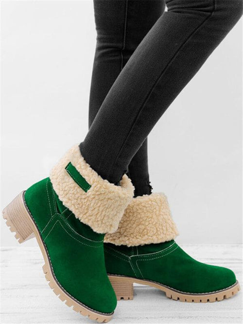 Warm Square Heels Snow Boots