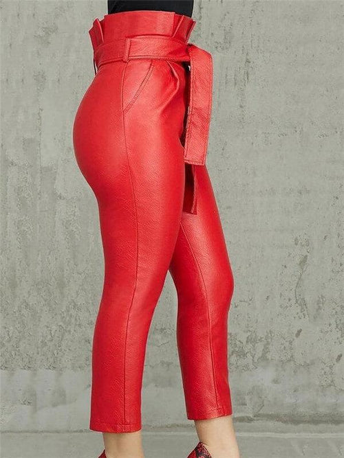 High Waist PU Pants With Belt
