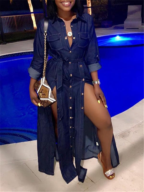 Button-Down Slit Denim Dress